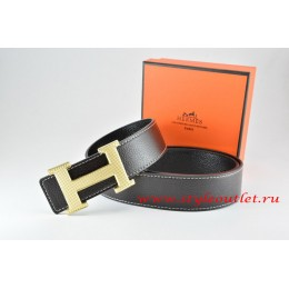 Hermes Black/Black Leather Men Reversible Belt 18k Silver Wave Stripe H Buckle