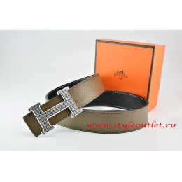 Hermes Light Gray/Black Leather Men Reversible Belt 18k Gold Wave Stripe H Buckle