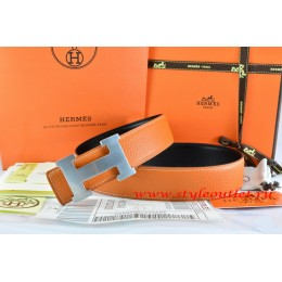 Hermes Orange/Black Leather Men/Women Reversible Belt 18k Silver H Buckle