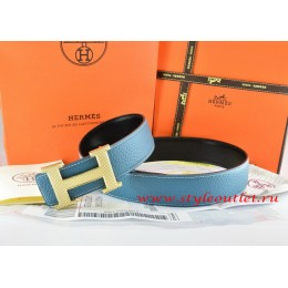 Hermes Blue/Black Leather Men Reversible Belt 18k Gold Wave Stripe H Buckle