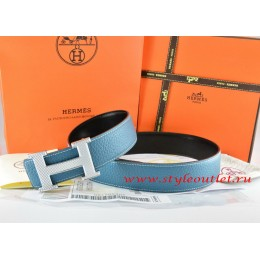 Hermes Blue/Black Leather Men Reversible Belt 18k Silver Wave Stripe H Buckle