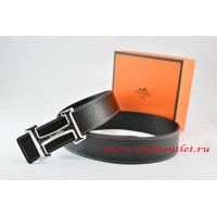 Hermes Black/Black Leather Men Reversible Belt 18k Silver Smooth H Buckle