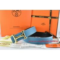 Hermes Blue/Black Leather Men Reversible Belt 18k Gold Smooth H Buckle