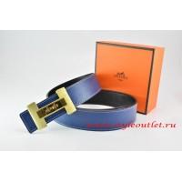 Hermes Dark Blue/Black Leather Men Reversible Belt 18k Gold Logo H Buckle
