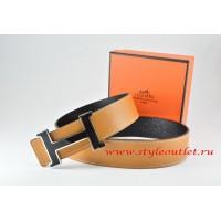 Hermes Light Coffe/Black Leather Men Reversible Belt 18k Black Silver H Buckle