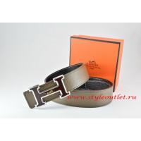Hermes Light Gray/Black Leather Men Reversible Belt 18k Black Silver Logo H Buckle