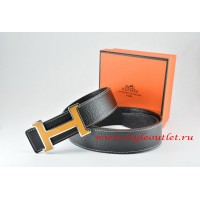 Hermes Black/Black Leather Men Reversible Belt 18k Orange Black Silver H Buckle
