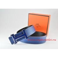 Hermes Dark Blue/Black Leather Men Reversible Belt 18k Blue Silver H Buckle