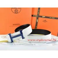 Hermes White/Black Leather Men Reversible Belt 18k Blue Silver H Buckle