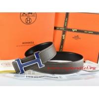 Hermes Brown/Black Leather Men Reversible Belt 18k Blue Silver H Buckle