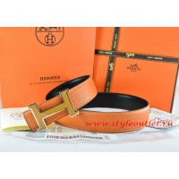 Hermes Orange/Black Leather Men Reversible Belt 18k Orange Silver H Buckle