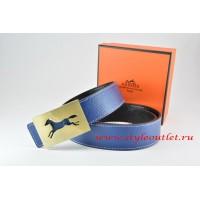 Hermes Dark Blue/Black Leather Men Reversible Belt 18k Hollow Horse Gold Buckle