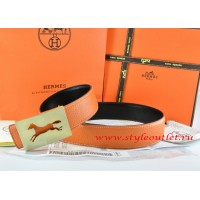 Hermes Orange/Black Leather Men Reversible Belt 18k Hollow Horse Gold Buckle