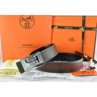 Hermes Brown/Black Leather Men Reversible Belt 18k Silver Big H Buckle