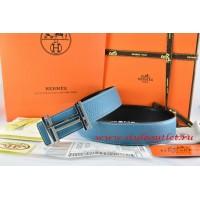 Hermes Blue/Black Leather Men Reversible Belt 18k Silver Double H Buckle