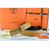 Hermes Light Gray/Black Leather Men Reversible Belt 18k Gold Double H Buckle