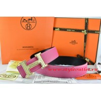 Hermes Pink/Black Leather Men Reversible Belt 18k Gold Bamboo Stripe H Buckle