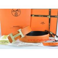Hermes Orange/Black Leather Men Reversible Belt 18k Gold Bamboo Stripe H Buckle