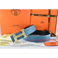 Hermes Blue/Black Leather Men Reversible Belt 18k Gold Geometric Stripe H Buckle