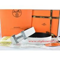 Hermes White/Black Leather Men Reversible Belt 18k Silver Geometric Stripe H Buckle