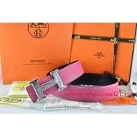 Hermes Pink/Black Leather Men Reversible Belt 18k Silver Geometric Stripe H Buckle