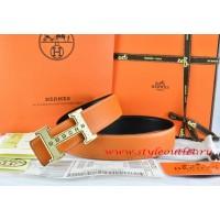 Hermes Orange/Black Leather Men Reversible Belt 18k Gold Weave Stripe H Buckle