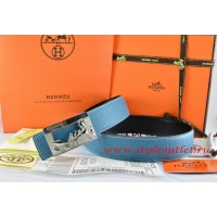 Hermes Blue/Black Leather Men Reversible Belt 18k Silver Coach H Buckle