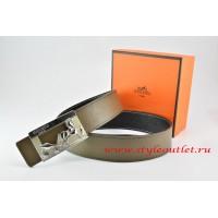 Hermes Light Gray/Black Leather Men Reversible Belt 18k Silver Coach H Buckle