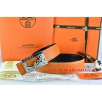 Hermes Orange/Black Leather Men Reversible Belt 18k Silver Coach H Buckle