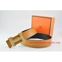 Hermes Light Coffe/Black Leather Men Reversible Belt 18k Gold Speckle H Buckle