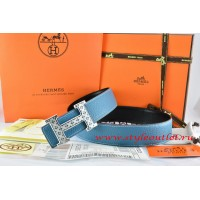 Hermes Blue/Black Leather Men Reversible Belt 18k Silver Speckle H Buckle