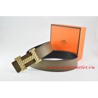 Hermes Light Gray/Black Leather Men Reversible Belt 18k Gold Speckle H Buckle