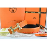 Hermes Orange/Black Leather Men Reversible Belt 18k Gold Stripes Logo H Buckle