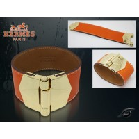 Hermes Berenice Leather Orange Bracelet With Gold Cuff