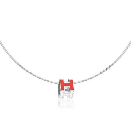 Hermes Cage d'H Necklace Red in Lacquer With Gold