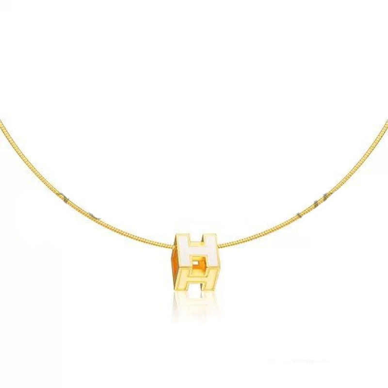 Shop For Hermes Cage D H Necklace White In Lacquer Yellow Gold