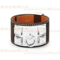 Hermes Collier de Chien Coffee Bracelet With Silver