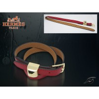 Hermes Double Tour Leather Red Bracelet With Gold