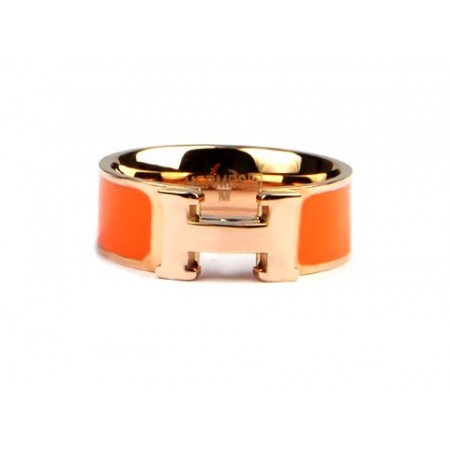 Hermes Enamel Clic H Ring in 18kt Pink Gold with Orange