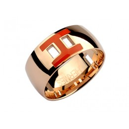 Hermes Enamel H Ring in 18kt Pink Gold with Red