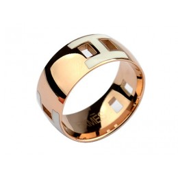 Hermes Enamel H Ring in 18kt Pink Gold with White