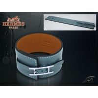 Hermes Fleuron Large Leather Blue Bracelet With Silver