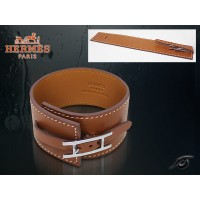Hermes Fleuron Large Leather Light Brown Bracelet With Silver