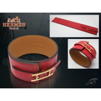 Hermes Fleuron Large Leather Red Bracelet With Gold