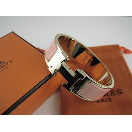 Hermes Pink Enamel Clic H Bracelet Narrow Width (18mm) In Gold