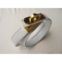 Hermes Rivale Double Wrap White Bracelet With Gold