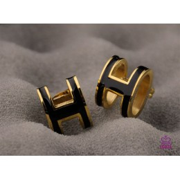 Lacquered Hermes Pop H Black Earrings in Yellow Gold